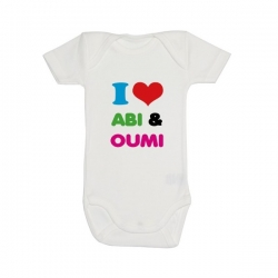 Baby body \'I love Abi & Oumi\'