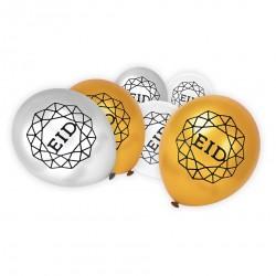 Eid Mubarak ballonnen wit/goud/zilver